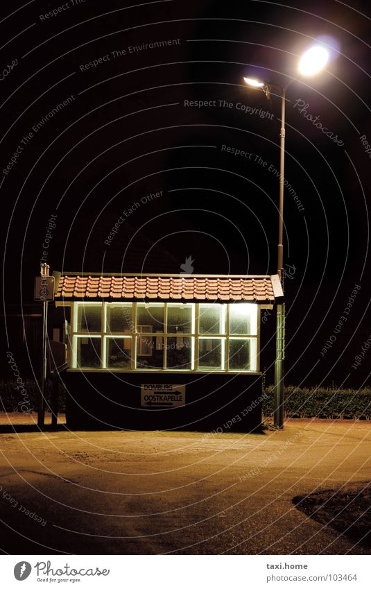 waiting Loneliness Bus stop Wait Night Dark Street lighting Window Roof Netherlands Lamp Light Meadow Floodlight Black Brown Brick Village Long exposure