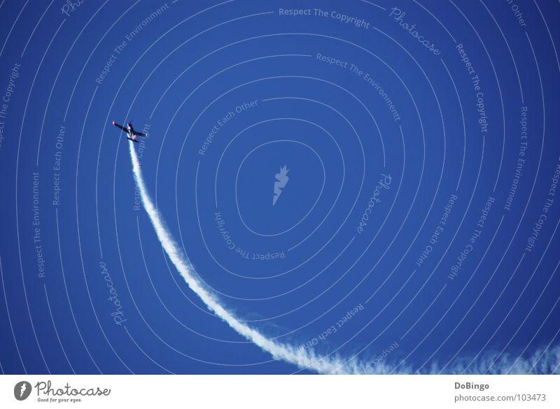 upswing Airplane Aerobatics Tails White Clouds Panic Acceleration Fear Summer Aviation Roller coaster Smoke Sky Blue Line Steam Wing Upward Beautiful weather
