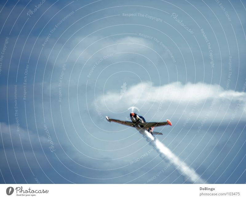 Overflight Permission Airplane Aerobatics Tails White Clouds Panic Acceleration Summer Fear Aviation Roller coaster Smoke Sky Blue Line Steam Wing