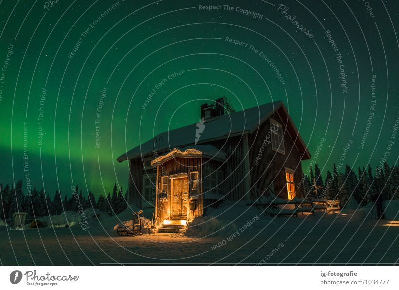 Polar light in the Night House (Residential Structure) Landscape Sky Dark Fantastic Warmth Green Moody Surrealism Aurora Polaris Beauty In Nature Color Image