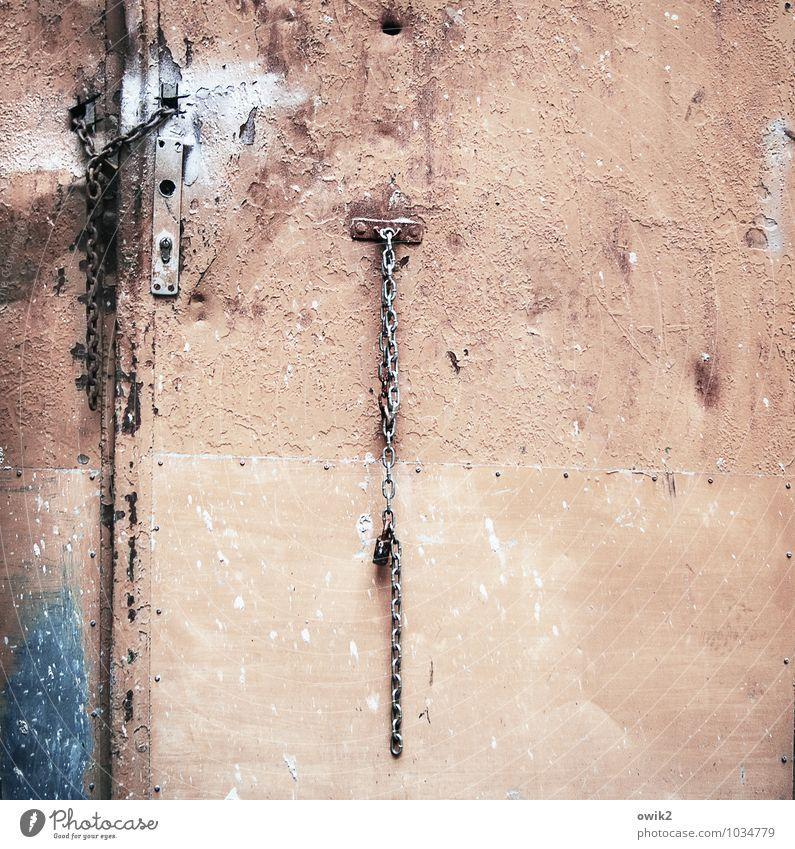 Old Blue Metal Pink Gloomy Door Simple Transience Protection Safety Tracks Past Trust Decline Rust Hang