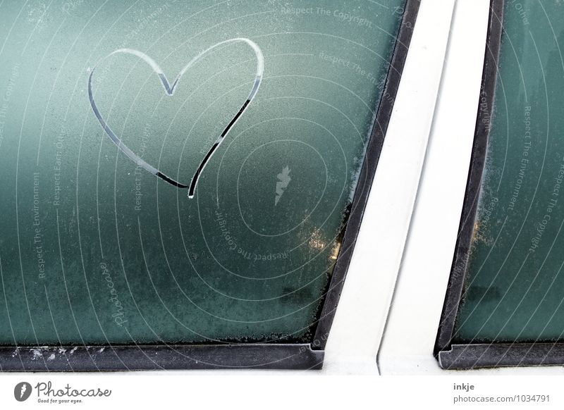 Blue Winter Cold Emotions Love Car Window Gray Ice Car Climate Heart Sign Romance Frost Car door Frozen