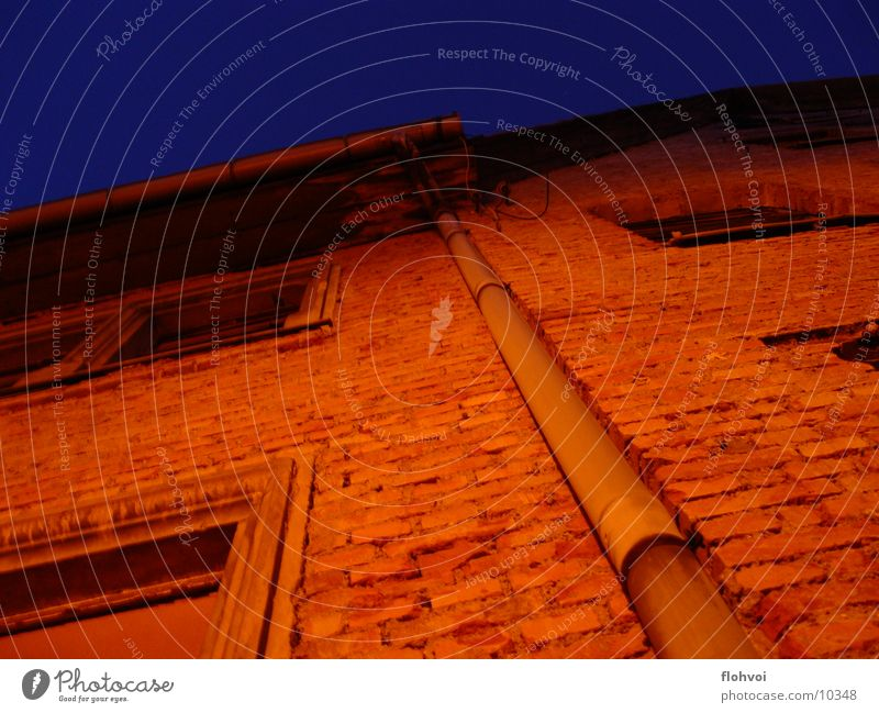 long channel Rain gutter Night Weimar House (Residential Structure) Dark Long Steep Things Stone Orange Rotate Calm