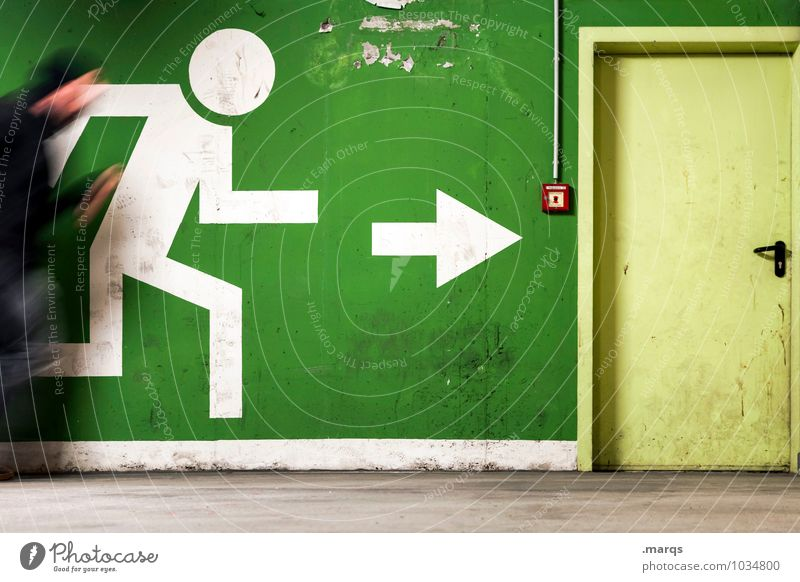 Let's go! Let's go! Let's go! Let's go! Human being Masculine 1 Door Sign Arrow Pictogram Running Exceptional Green Target Flee Escape route Panic