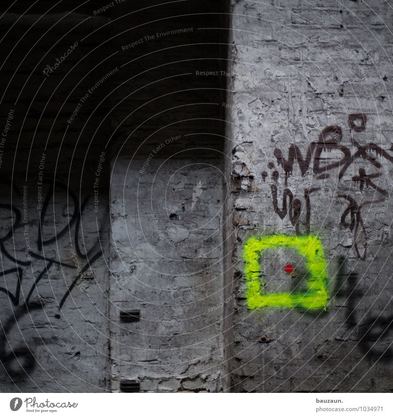 Red Yellow Wall (building) Graffiti Building Wall (barrier) Gray Stone Line Glittering Facade Illuminate Characters Threat Stripe Sign