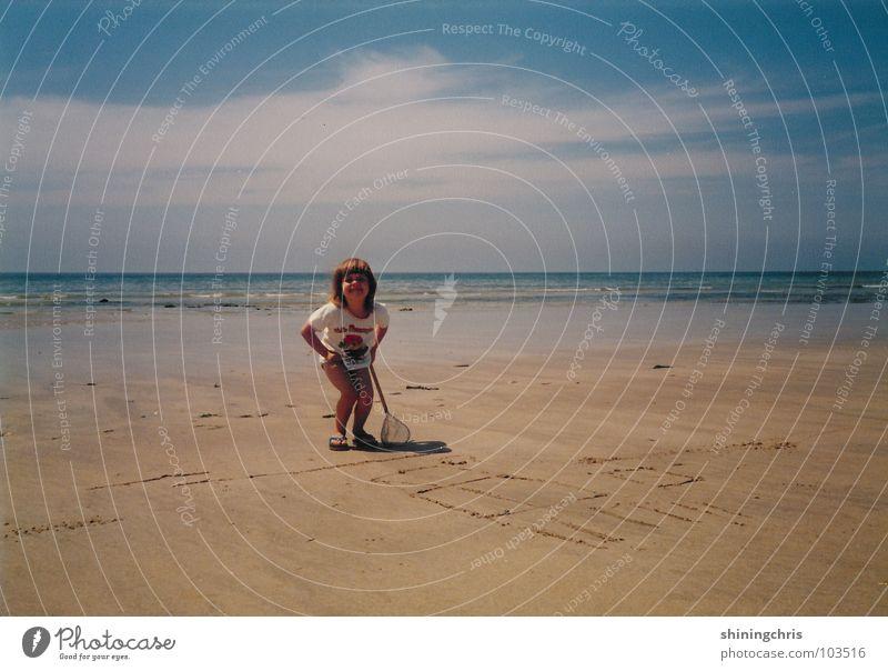 Child Girl Sky Ocean Beach France Fishing net