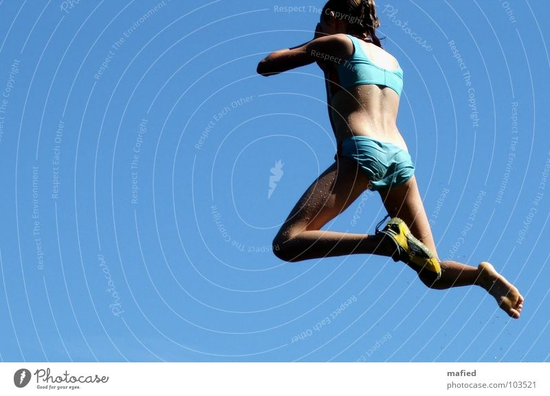 Sky Blue Girl Summer Joy Playing Jump Footwear Swimming & Bathing Wet Aviation Scream Brave Springboard Open-air swimming pool