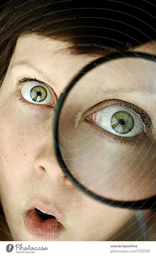 ooooaaaahr Young woman Youth (Young adults) Woman Adults Eyes Magnifying glass Under Green Take Amazed Investigate Enlarged Research Vista Face Dark-haired