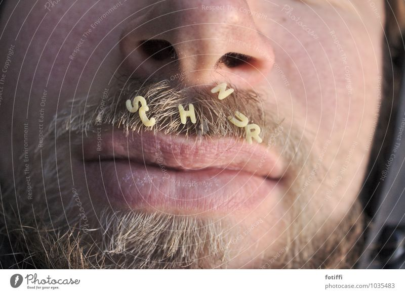 Man carries S c h n u r r b a r t Close-up Lips Masculine Mouth Face Human being Facial hair Nose Pelt Characters Alphabet noodles Letters (alphabet) spell