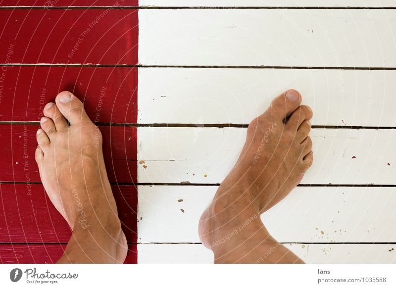 with one leg Legs Human being Ground planks Wooden floor Red White Feet