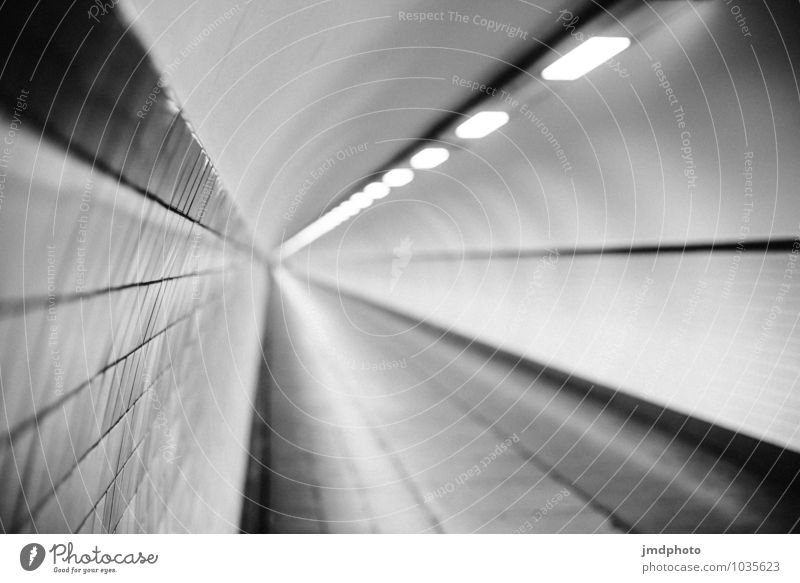 vanishing point Antwerp Tunnel Illuminate Dark Far-off places Creepy Cold Round Gloomy Under Town Black White Tunnel vision Tunnel lighting Fluorescent Lights