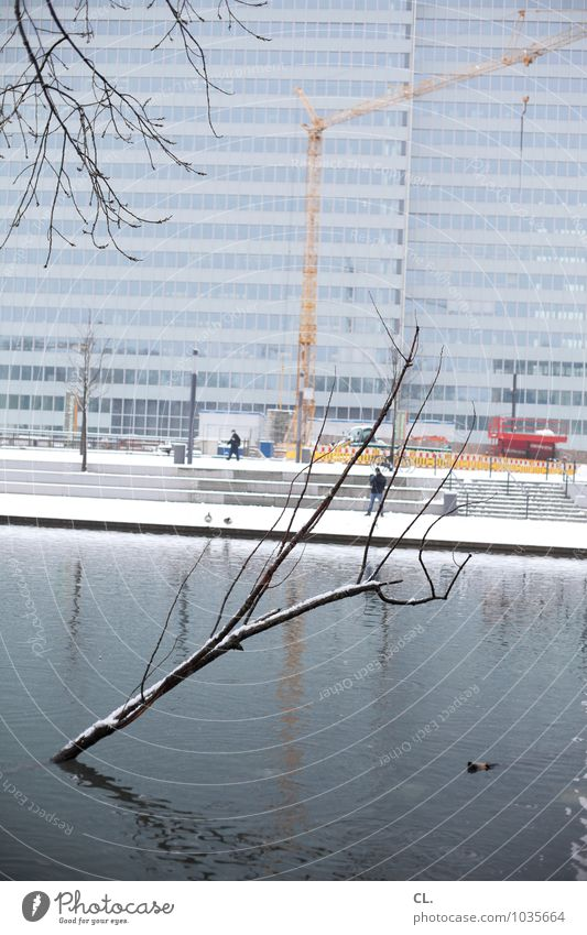 no schickimicki Construction site Economy Environment Nature Water Winter Climate Weather Ice Frost Snow Snowfall Tree Branch Park Pond Lake Duesseldorf Town