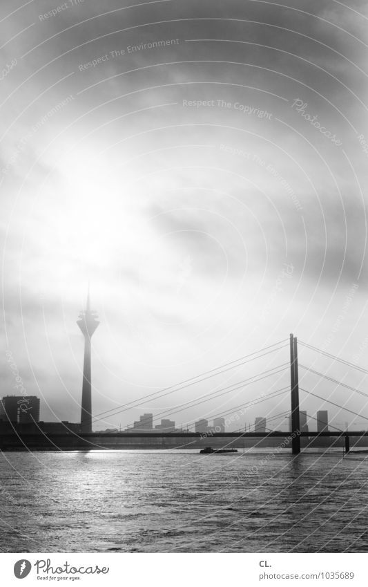 The Village Environment Nature Water Sky Clouds Sun Sunlight Climate Weather Beautiful weather Fog River bank Duesseldorf Town Skyline High-rise Bridge