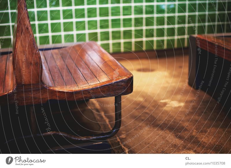 Waiting bench Room Bench Tile Wood Sit Authentic Retro Brown Green Calm Break Stagnating Colour photo Interior shot Deserted Day Shallow depth of field