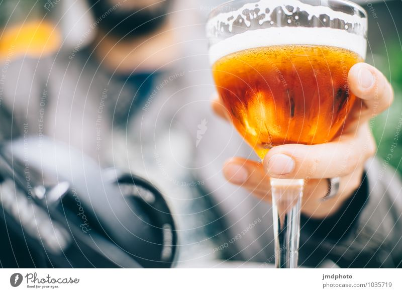 Cheers! Beverage Cold drink Alcoholic drinks Beer Glass Beer glass Lifestyle Drinking Feasts & Celebrations Human being Masculine Man Adults Hand Fingers 1