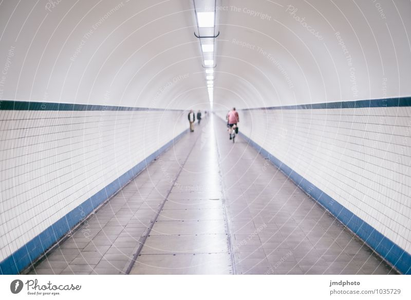 Tunnel into nothing 2 Leisure and hobbies Cycling tour Human being 3 Running Movement Driving Going Vacation & Travel Cold Round Under Town Blue White