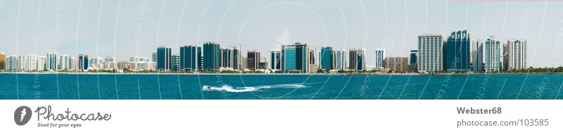 Blue City Ocean Coast Modern High-rise Asia Skyline Panorama (Format) Capital city Arabia United Arab Emirates Jet-ski Abu Dhabi