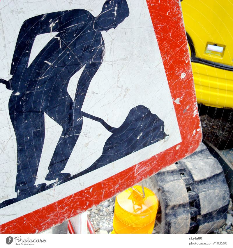 operation Construction site Construction worker Excavator Construction vehicle Lamp Road sign Man Shovel Work and employment Crooked Signs and labeling