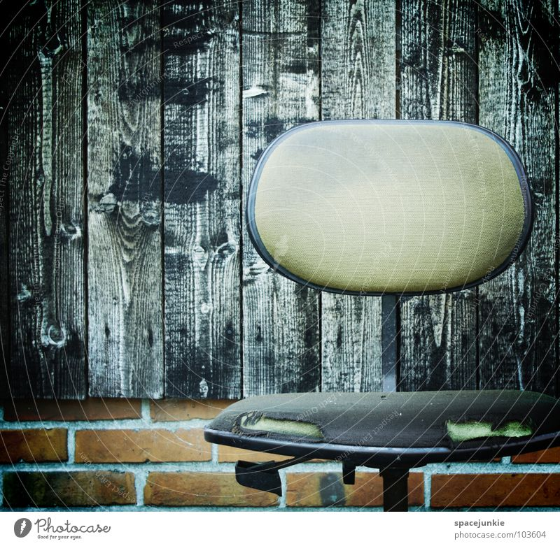 Old Joy Calm Black Relaxation Wood Sit Wet Broken Chair Derelict Brick Seating Comfortless Office chair