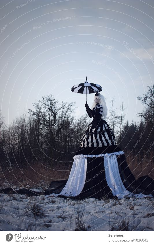 black snow Carnival Hallowe'en Human being Feminine Woman Adults 1 Subculture Rockabilly Environment Nature Landscape Sky Clouds Winter Ice Frost Snow Meadow