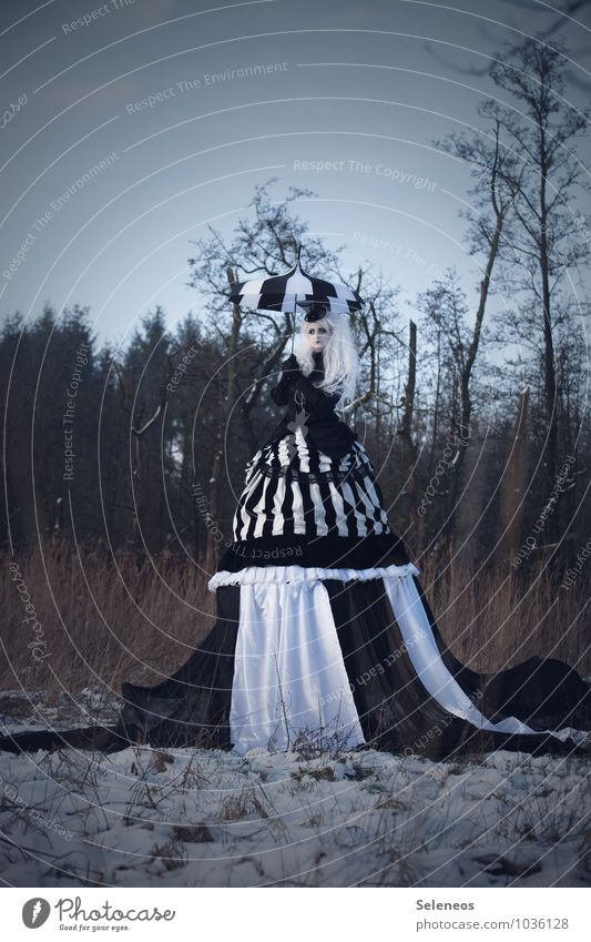 one day, there was snow Carnival Hallowe'en Human being Feminine Woman Adults 1 Subculture Rockabilly Environment Nature Cloudless sky Winter Ice Frost Snow