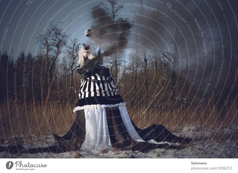 Human being Woman Nature Tree Winter Forest Adults Meadow Feminine Field Large Fantastic Dress Cloth Smoke Carnival