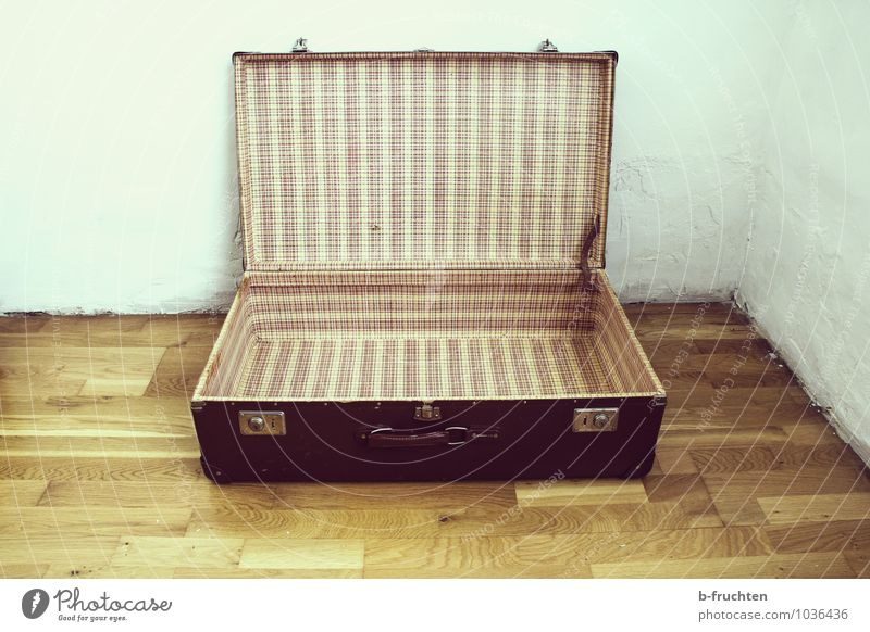 journey through time Far-off places Moving (to change residence) Vacation & Travel Old Brown Past Transience Change Empty Retro Colours Pattern Suitcase