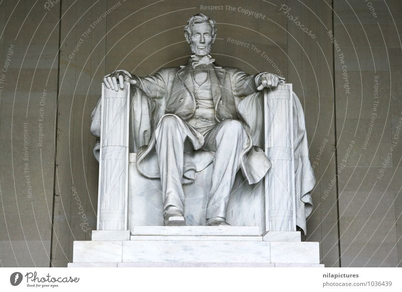 Abraham Lincoln Memorial Human being Town Culture Art Tourism Statue memorial Washington USA America monument memorials interior seriously marble president