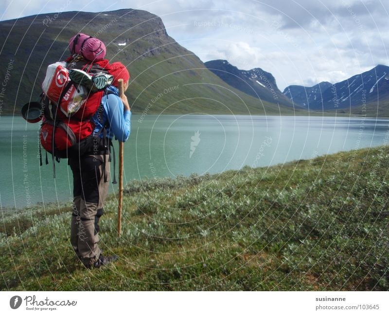 Woman Nature Mountain Hiking Sweden Backpack Wilderness Mountain lake Northern Europe