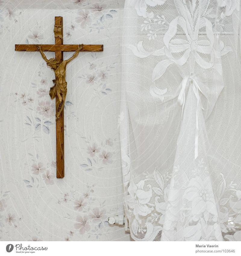 Ikea in bavarian Kitsch Deities Religion and faith Jesus Christ Belief Bavaria Crucify Wall decoration Decoration Curtain Wallpaper Prayer Holy Sin Sinner