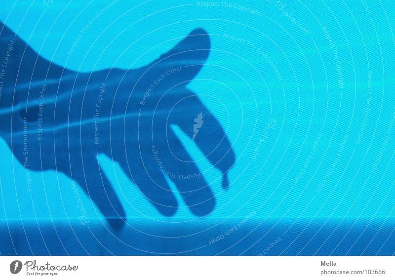 Hand Water Blue Above Bright Glittering Dangerous Drop Threat Creepy Eerie Glimmer Children`s hand