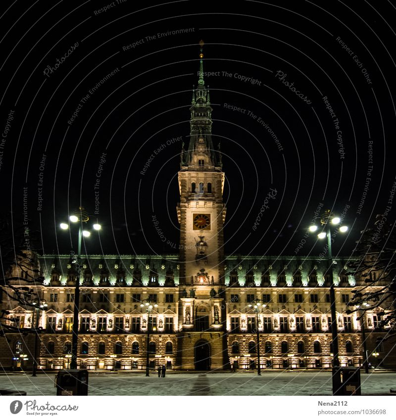 Hamburg City Hall Town Port City Downtown Manmade structures Building Architecture Tourist Attraction Landmark Dark Cold City hall City hall tower