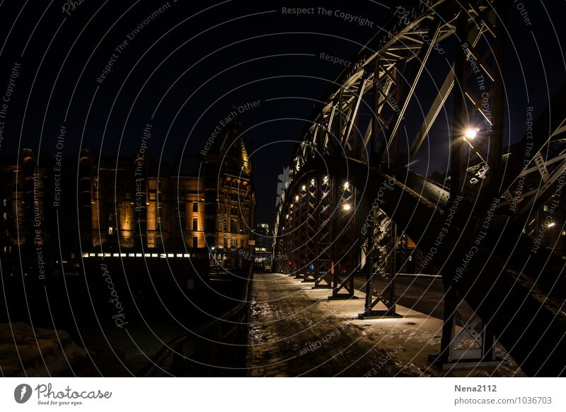 City Loneliness House (Residential Structure) Winter Dark Cold Architecture Snow Building Metal Elegant Bridge Hamburg Manmade structures Downtown