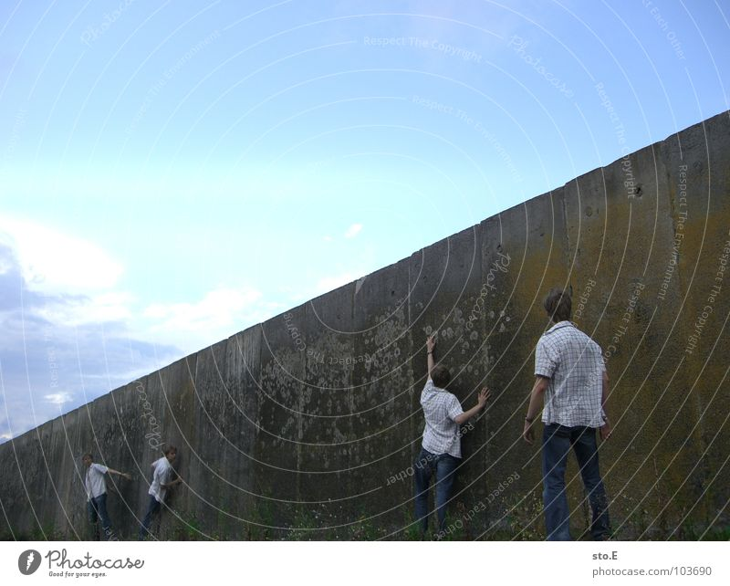 Human being Youth (Young adults) Colour Wall (building) Wall (barrier) Think Stand Posture Guy Traffic infrastructure Thought East Fellow Passage