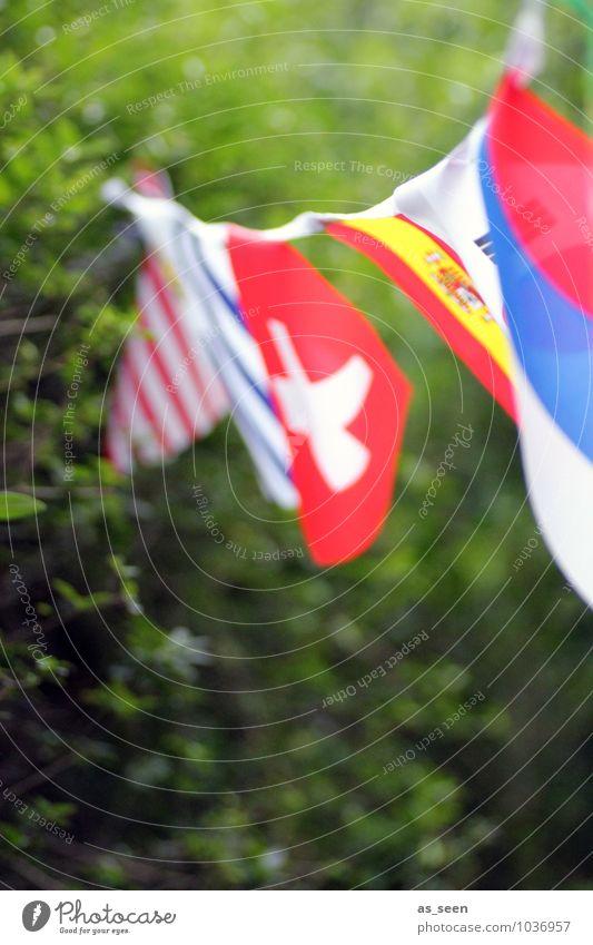 international understanding Joy Leisure and hobbies Garden Party Feasts & Celebrations Meeting To talk Environment Nature Summer Flag Movement Hang Blue Red