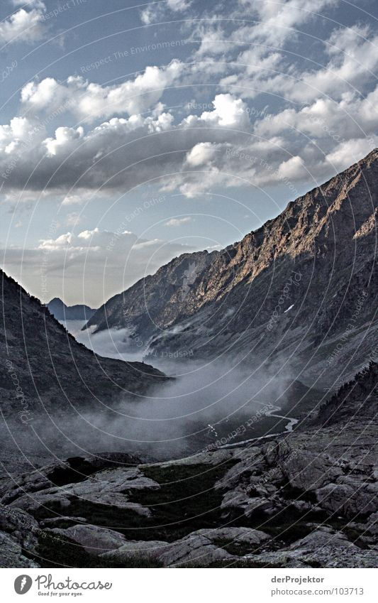 Sky Blue Green Clouds Mountain Stone Moody Rock Fog Pain Blow Pyrenees