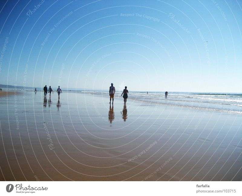 Human being Sun Ocean Blue Summer Beach Far-off places Group Couple Walking Horizon In pairs Future Level To go for a walk Infinity