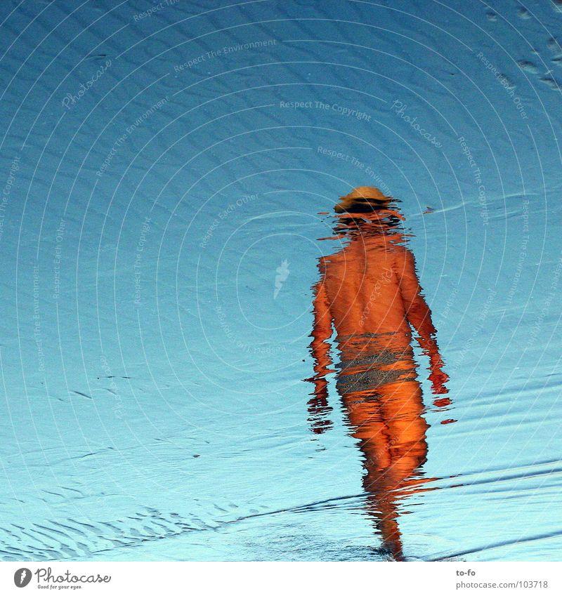 Sky Man Blue Water Vacation & Travel Summer Ocean Beach Warmth Coast Waves Swimming & Bathing Physics Mirror