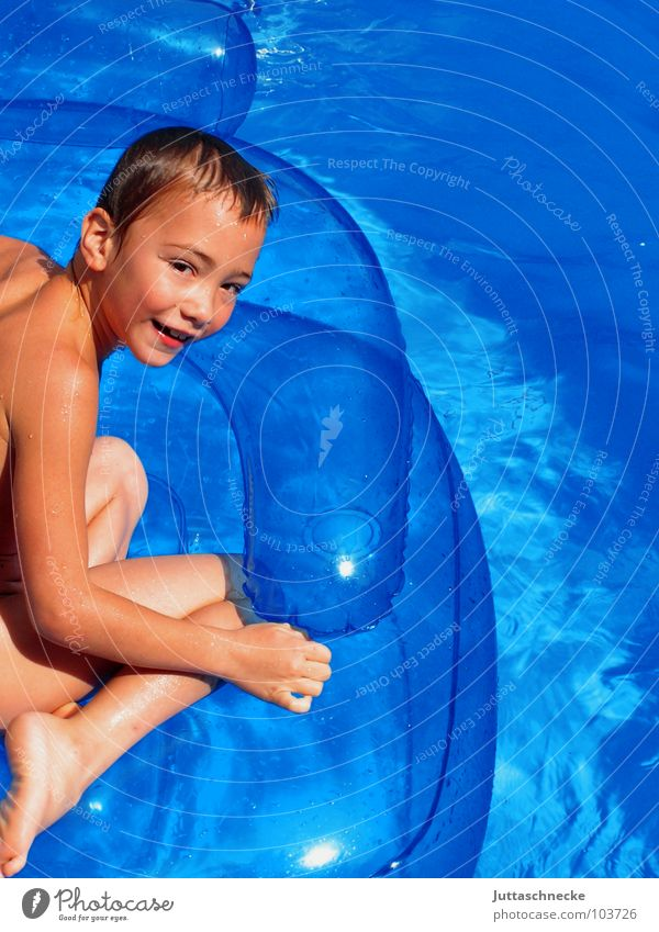 Human being Child Blue Water Vacation & Travel Summer Joy Life Playing Warmth Boy (child) Happy Laughter Contentment Swimming & Bathing Sit