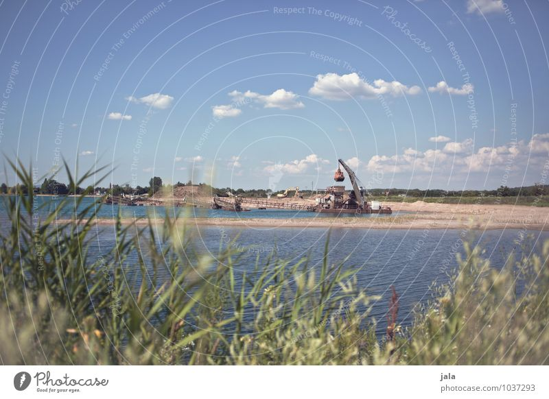 gravel lake Work and employment Workplace Gravel pit Gravel plant Industry Environment Nature Landscape Water Sky Summer Plant Foliage plant Coast Lake Simple