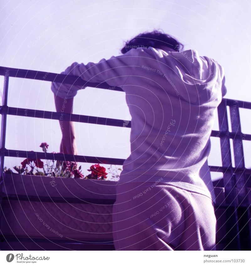 Woman Human being Hand Sky Flower Summer Calm Loneliness Emotions Sadness Warmth Metal Flat (apartment) Back Grief Growth