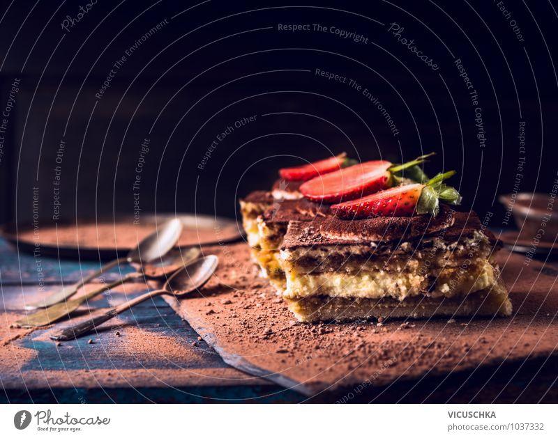 Strawberry Tiramisu Cake with Chocolate Food Fruit Dessert Nutrition Diet Italian Food Spoon Style Design Background picture Portion tiramisu Table Dark
