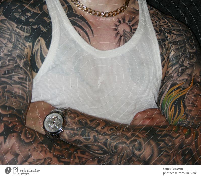 Man Hand Power Gold Arm Skin Wet Clock Force T-shirt Shirt Prayer Tattoo Chain Transparent Guy