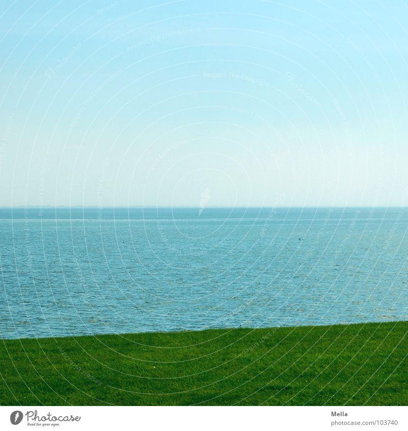Water Sky Ocean Green Blue Summer Far-off places Grass Coast Empty Island Lawn Division North Sea Tricolour Neuwerk