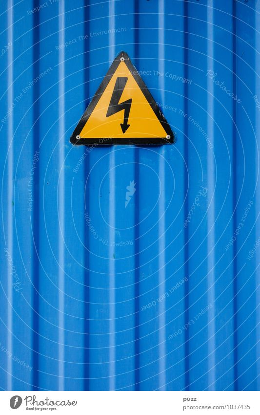 flash Steel Sign Signs and labeling Signage Warning sign Line Blue Yellow Black Warning label Electricity Triangle Lightning Symbols and metaphors Tin