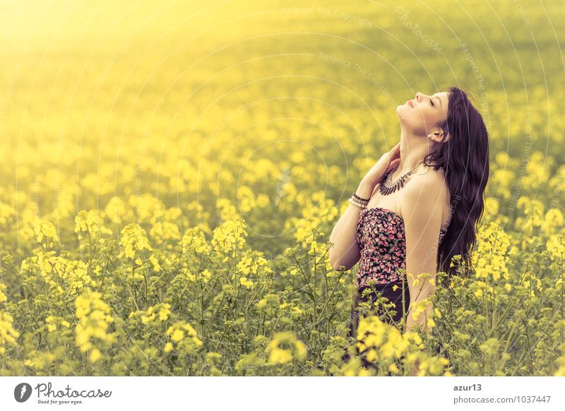 Human being Woman Nature Youth (Young adults) Beautiful Summer Sun Relaxation Calm 18 - 30 years Yellow Adults Life Emotions Love Spring