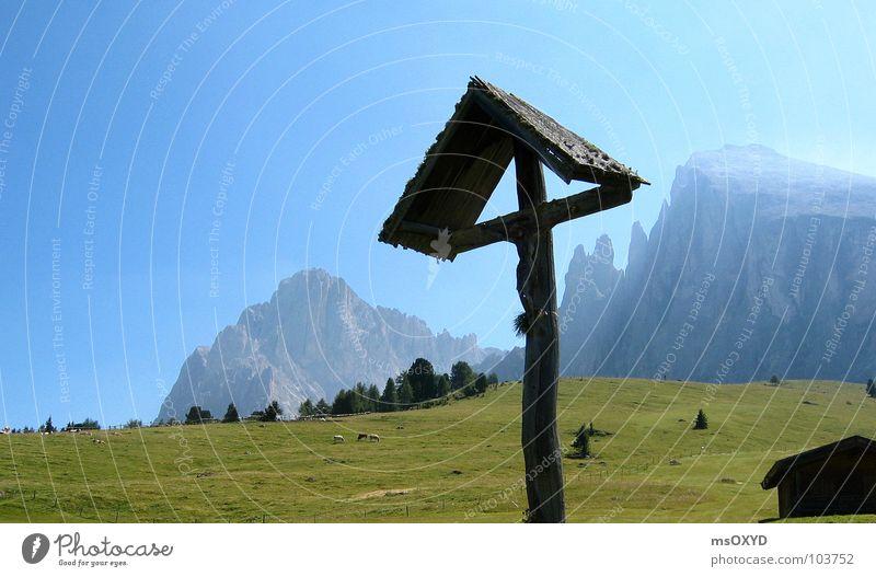 Back Crucifix Mountaineering Alpine pasture Blue sky South Tyrol Christian cross Langkofel Plattkofel Seiser Alm