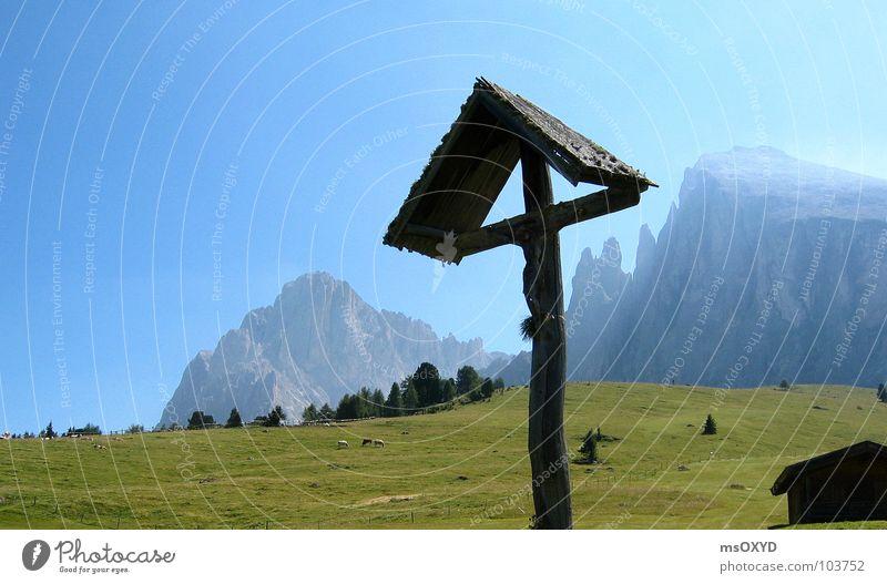 Back Crucifix Mountaineering Alpine pasture Blue sky South Tyrol Christian cross Langkofel Plattkofel Seiser Alm