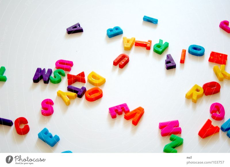 Letters THREE Letters (alphabet) Multicoloured Yellow Green Red White Word Magnet Reading Chaos Muddled Untidy Together Decoration Joy Characters letter letters
