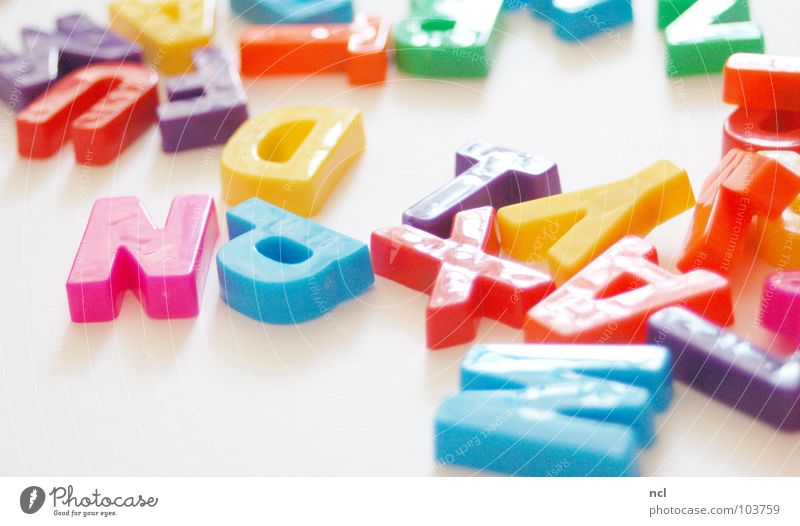 Letters FIVE Letters (alphabet) Multicoloured Yellow Green Red White Word Magnet Reading Chaos Muddled Untidy Together Decoration Joy Characters letter letters